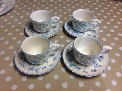 BHS British Home Stores Bristol Blue SET OF 4 CUPS & SAUCERS Lot 1