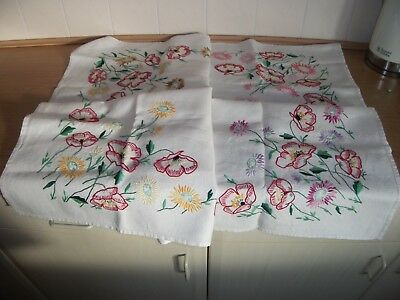 Embroidered Tablecloth - Lovely Embroidery - Poppies And Daisies