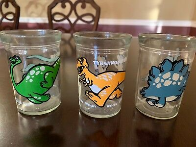 Lot Of 3 - Vintage Welch's 1988 Jelly Jar Juice Glasses - Dinosaurs T-Rex