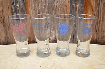 Lot 4 Vintage Pint Beer Glasses Pabst Strohs Miller High Life Lite