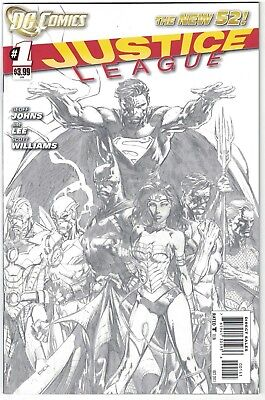 JUSTICE LEAGUE #1  1:200  Black & White Pencil Sketch Variant New 52  NEAR MINT