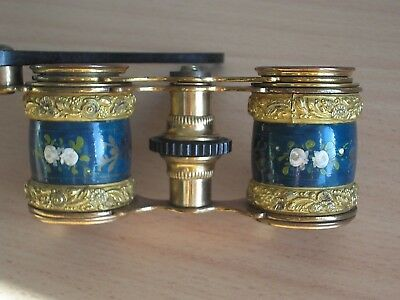 Antique Opera Glasses With Handle And Handpainted Tubes