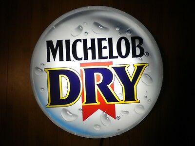 "Michelob Dry Beer Lghted Sign Bottle Cap Shape 13"" diameter x 4"" deep"