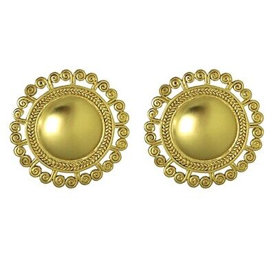 ACROSS THE PUDDLE 24k Gold Plated Pre-Columbian Tolima Spirals Sun Stud Earrings