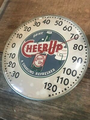 """drink CHEER UP COLA THERMOMETER 12"""" ROUND GLASS DOME SIGN Original Old"""