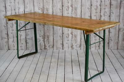 Vintage Industrial Pine Metal Trestle Kitchen Cafe Bar Event Table 17 AVAILABLE