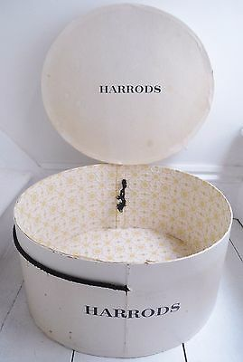 VINTAGE UP-CYCLED LARGE OVAL HARRODS HAT BOX/20s NOUVEAU PAPER LINED/SILK ROPE