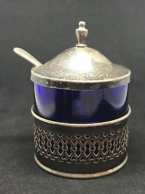 Vintage Sterling Silver Webster Cobalt Mustard Pot & Spoon .