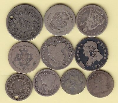 US  lot of 10 small old silver coins  VG - F