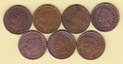 US  1 Cent  KM 90a   lot of 7 Indian Heads