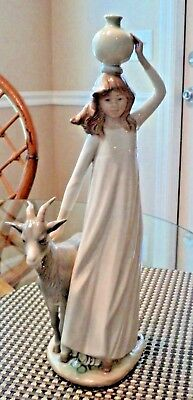 Rare!...blow-Out! Lady With  Water & Goat! Retired! Pristine Condition!