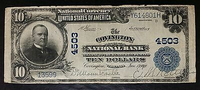 1902 $10 National Currency The Covington National Bank Large Note