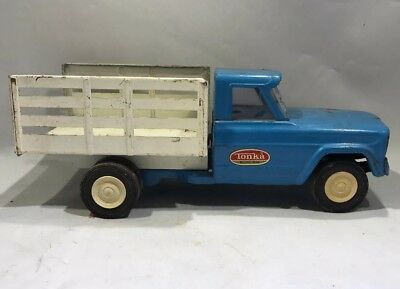Vintage Blue & White Tonka Jeep Stake Bed Farm Dump Truck 1960's Pressed Steel