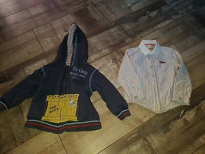 Boys Stripe Shirt Age 2-3 Years by M&S Autograph & Free Hooded Jacket