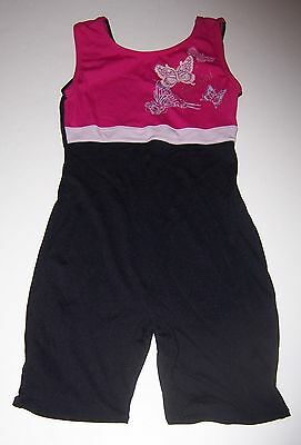 JACQUES MORET~Pink/Black Sleeveless Unitard~BUTTERFLY/BEAUTIFUL~GIRLS SIZE 8/10