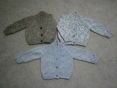 New Hand Knitted Baby Boy Cardigans - up to 3 months (14lbs)