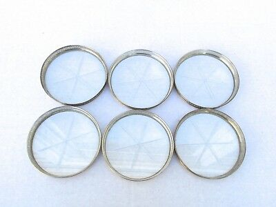 Vintage Antique Set of 6 Signed Sterling Webster Pierced Coasters Etched Glass