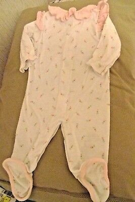 Girls size M romper Carter's white cotton long sleeve pink ruffle collar 12-17lb