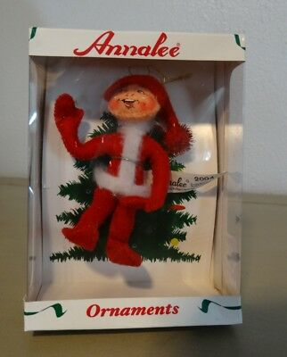 2004 Annalee Red Elf Christmas Tree Ornament In Box