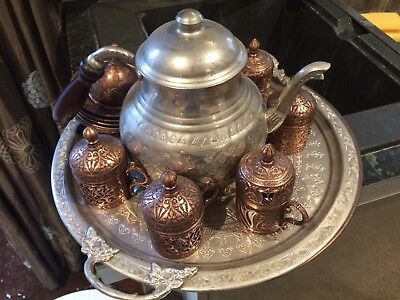 Vintage brass coffee pot, tray and cups - Turkish/Middle East/Ottoman style
