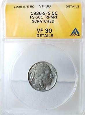 1936-S/S Buffalo Nickel - RPM-001 FS-501 -ANACS Certified VF30 Details -Scratced