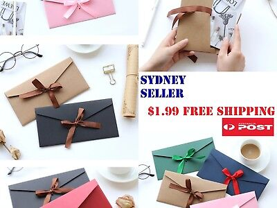 Christmas Gift Card Envelope with Ribbon Tie Romantic