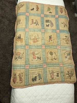 Vintage Antique Silk w Embroidered Applique Nursery Rhyme Squares Baby Quilt