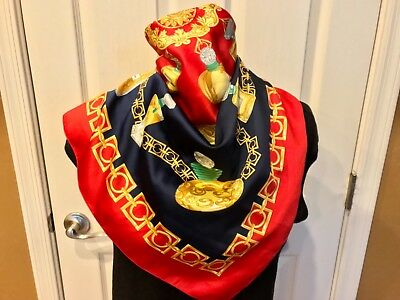 Vtg Italy Polyester Colorful Red Gold Green Parfum Perfumes Bottles Chain Scarf