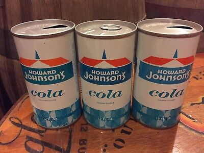 (3)Three Different Howard Johnsons Cola Straight Steel Soda Pop Can NR$9.99