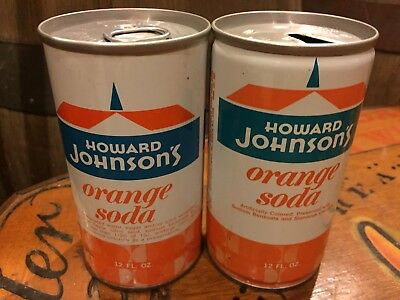 (2)Two Different Howard Johnson's Orange Soda Pop Cans Straight & Crimped Steel