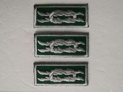 3 BSA-SQUARE KNOT PATCH-Silver on Green NYLT-National Youth Leadership Training