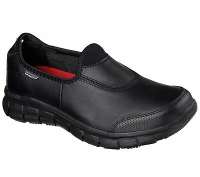 NEW Skechers Womens Sure Track Slip Resistant Comfort Leather Work Shoes Black