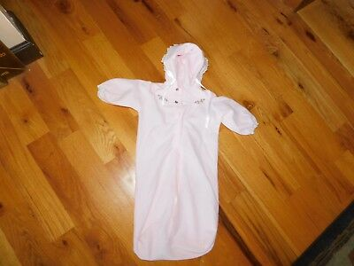 Baby Bliss Pink One Piece Bunting w/ Embroidered Heart Accents Size Small