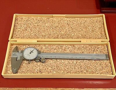 MITUTOYO DIAL CALIPER 505-633 Metric 0-150mm w/ Case Smooth and Clean