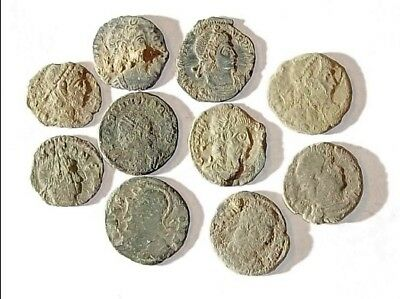 10 ANCIENT ROMAN COINS AE3 - Uncleaned and As Found! - Unique Lot 31901