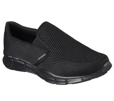 NEW Skechers Equalizer Double Play Black Walking Casual Slip On Shoes Mens
