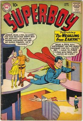 SUPERBOY #81 - JUNE 1960 - GD+ (2.5)   Rare no Superboy costume cover.