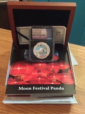 2017-Z-Panda Moon Festival Medal China 1 Ounce Silver First Releases Proof-70