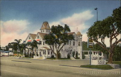 Carlsbad,CA The Twin Inns San Diego County California Linen Postcard