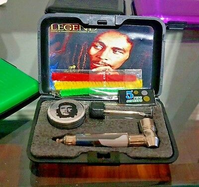 Metal Pipe Tobacco Filter+ Grinder+ Screen+glass vile+ Aluminum case gift Set