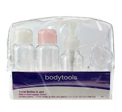 Body Tools Travel Bottles & Jars Set Ideal For Hand Luggage 8 Pieces - New