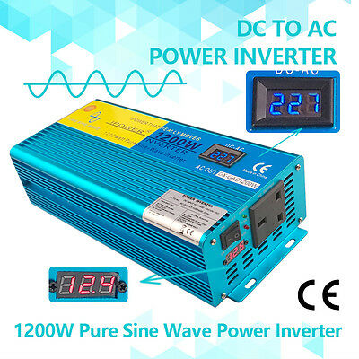 Pure sine wave power inverter 1200W 2400W DC 12V TO AC 230V car boat converter