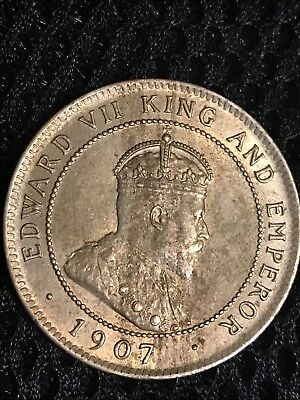 1907 JAMAICA ONE PENNY COIN VG to FINE