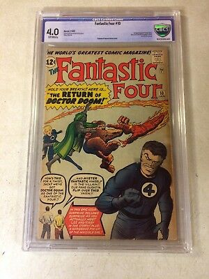 FANTASTIC FOUR #10 CBCS 4.0 (like CGC) KEY ISSUE, DOCTOR DOOM, 1963 HUMAN TORCH