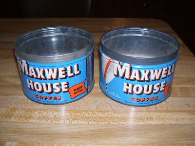 Pair of Vintage Maxwell House Metal Coffee Tins