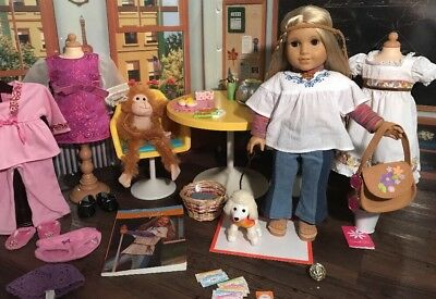 American Girl Julie Albright Lot-Doll, Table, Clothes+More-1 Of A Kind Lot