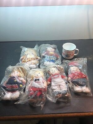 6 Campbell's The Alphabet Soup Kids Plush Dolls  NEW IN PACKAGE /Metal Cup.
