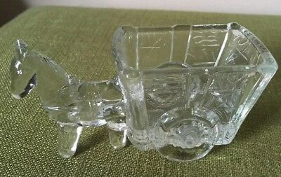 Vintage Clear Glass Horse Pulling Wagon Candy DishPlanter