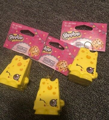 Kurt Adler Shopkins Chee Zee Christmas Ornament Yellow Cheese Swiss Lot Of 3