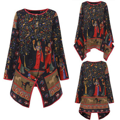 Vintage Ladies Womens Long Sleeve Shirt Casual Loose Gypsy Tops Blouse Plus Size